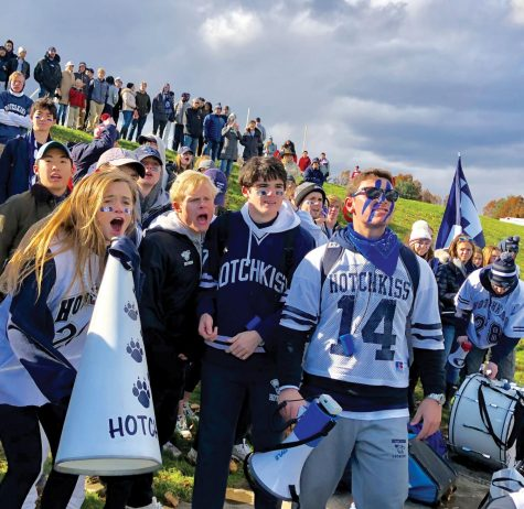 Blue and White Head Ben Meyers '19 leads the Blue Mob in a cheer at the Boys Varsity Soccer game at Taft on Saturday, November 10.