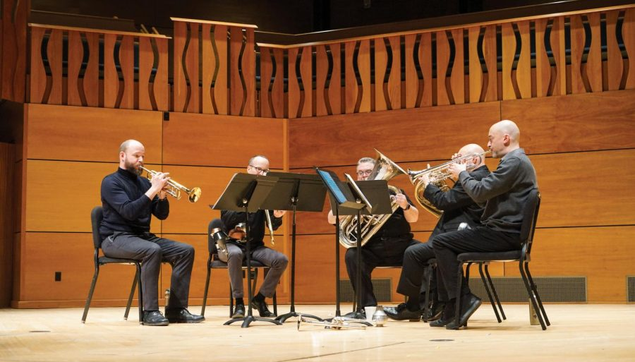 The+Atlantic+Brass+Quintet+performed+in+Elfers+Hall+last+Friday.