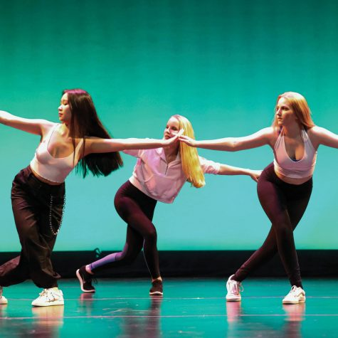 "Cici Bu '20, Aurora Smedvig '22, and Katerina Gill '21 showcase the hip-hop dance, ""Da Kool Kidz."""