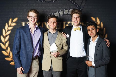 """Ben Kinnear '20, Luke Gardiner '21, whose submission won the """"Grand Jury Prize,"""" Dylan Kalaydjian '19 and  Dominic Bellido '20, whose submission won """"Best Cinematography""""."""