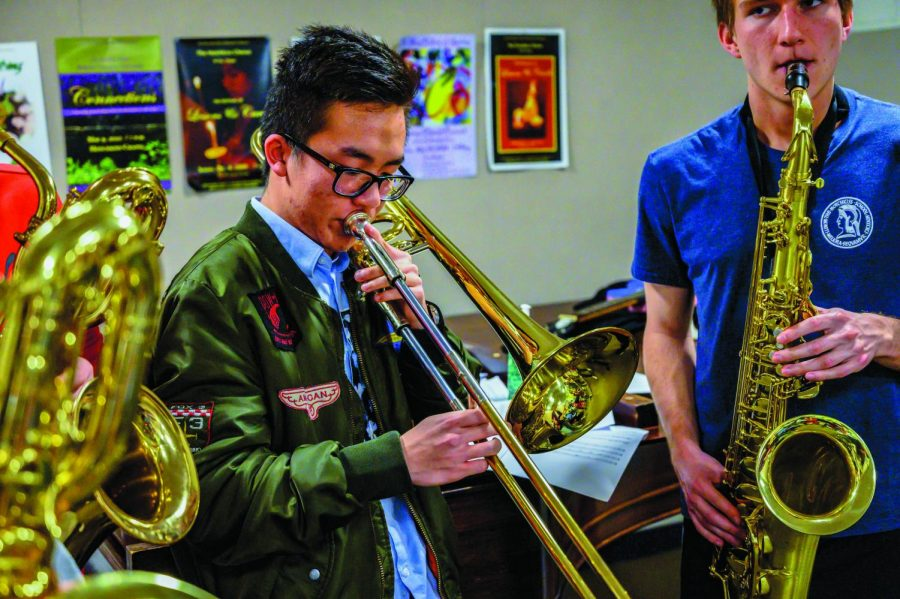 Woodwind+and+brass+instrument+performers+rehearse+in+preparation+for+the+annual+Student+Music+Showcase+%28SMS%29.