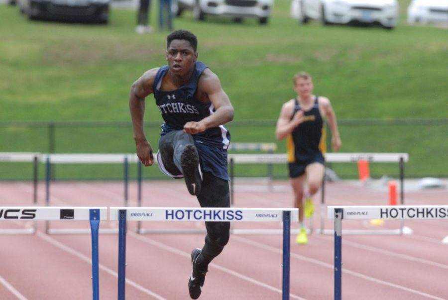 Obi Okoli '20 runs the 110 m and 300 m hurdles for Boys Varsity Track and Field.