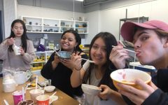 Students enrolled in the winter ceramics co-curricular held a Senior farewell party to celebrate the end of the season.