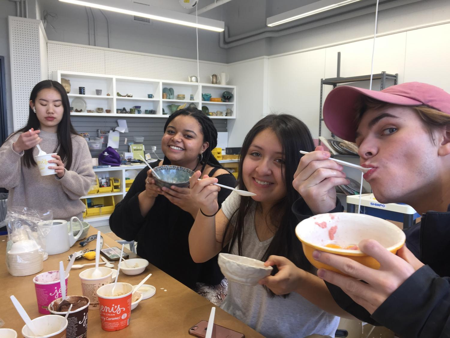 Students enrolled in the winter ceramics co-curricular held a Senior farewell party to celebrate the end of theseason.