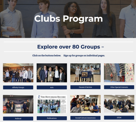 The Clubs Program website groups student organizations into different categories for easy access.
