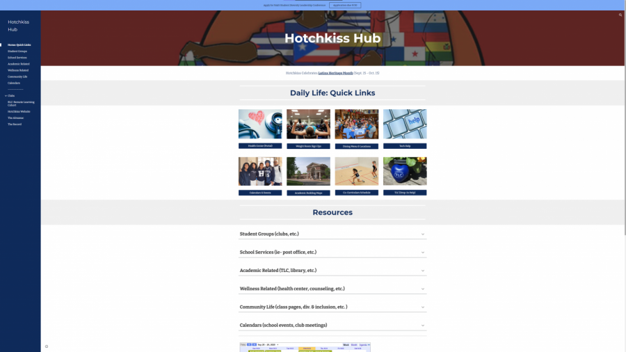 The Hotchkiss Hub serves as a virtual space where students can find answers to their most common questions.