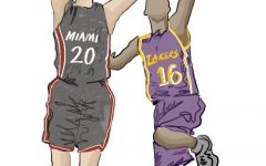 The Miami Heat and the Los Angeles Lakers face off in the NBA finals.