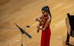 Wang performs during an Instrumental Recital in Elfers Hall.