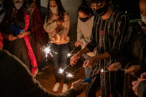 Students celebrated Diwali on campus with sparklers.