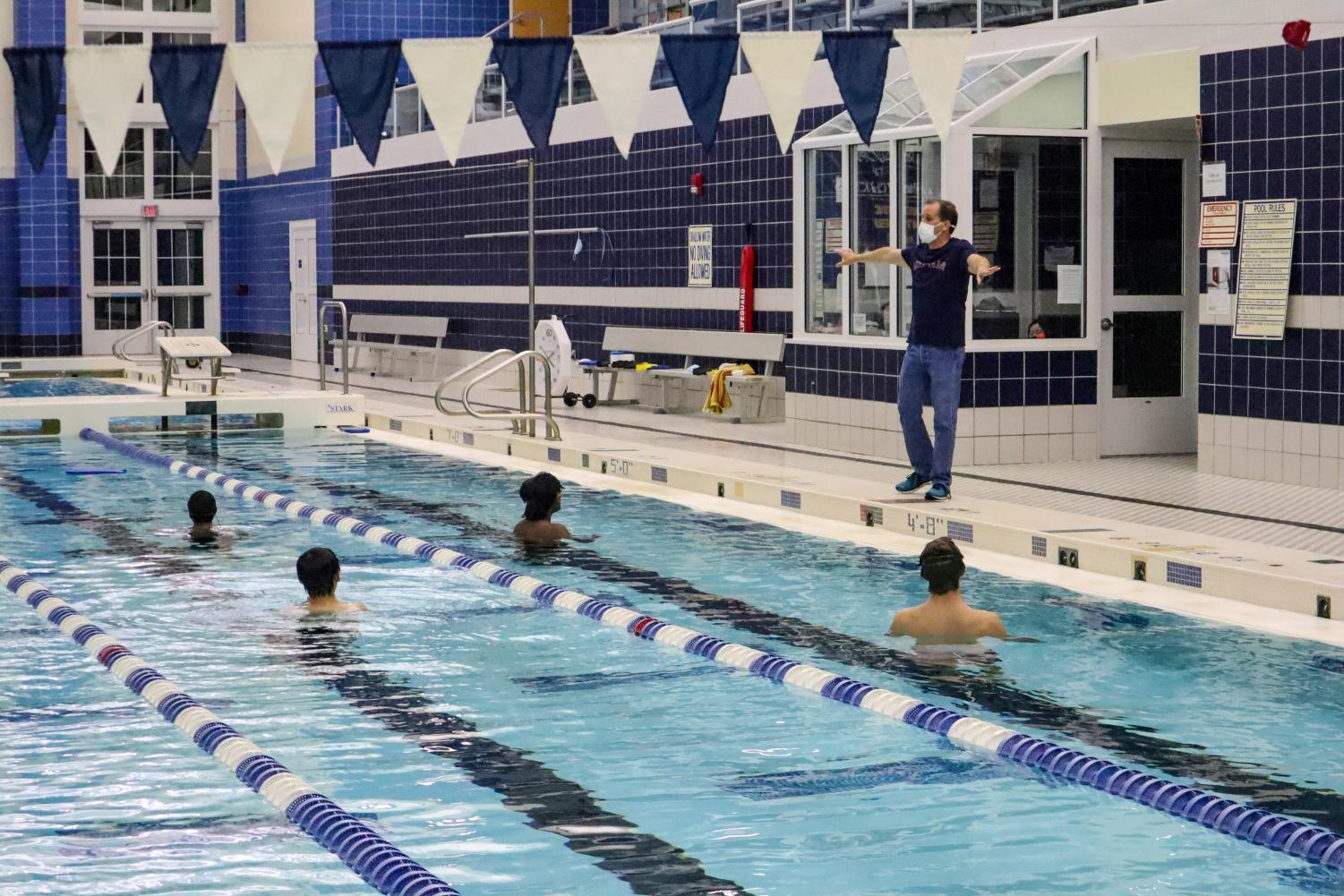 The team was restricted to a maximum of 20 people in the pool at once.