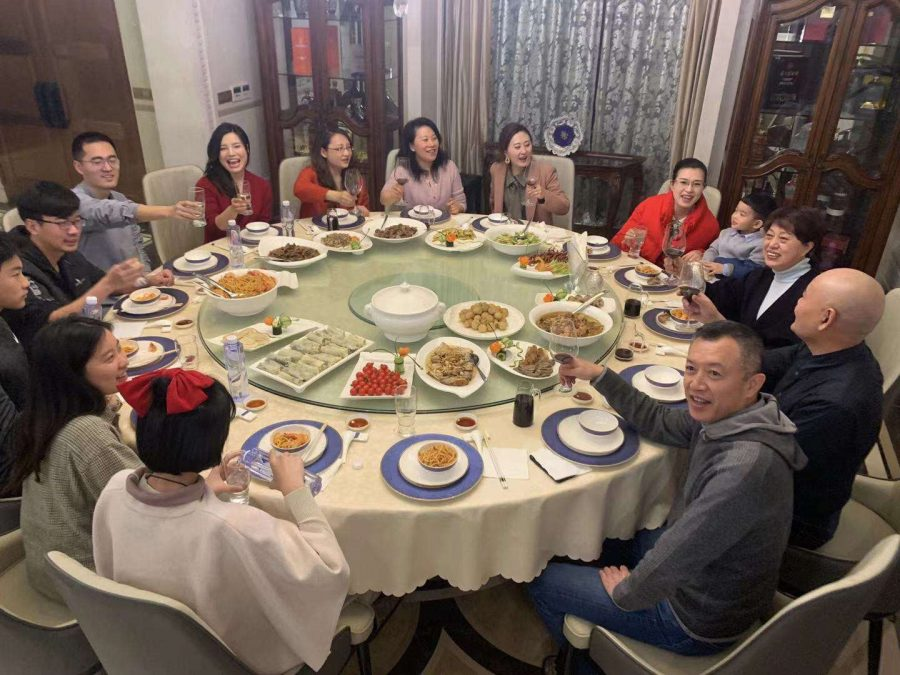 Alejandro Zheng '24 (with family and friends at a Lunar New Year dinner in Shanghai, China.