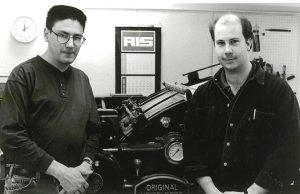 Andy Murphy and Joe O'Connor in the Print Shop in 1996.