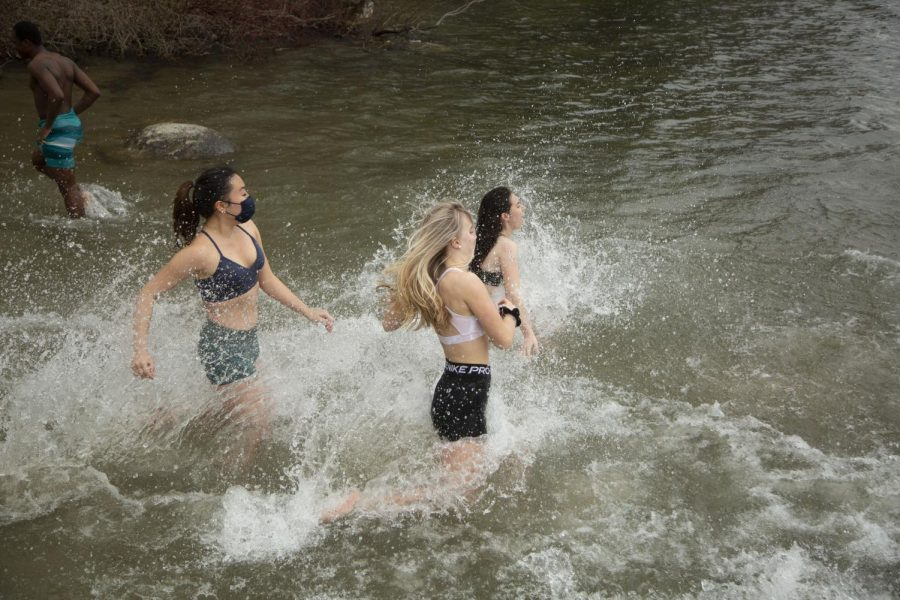 Students made a quick jump into icy Wononscopomuc Lake last Sunday.