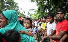 Displaced Rohingya in 2017.