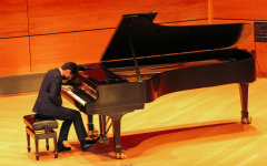 Kenny Zhang '22 plays Franz Liszt's Paraphrase on Verdi's Rigoletto during the recital on April 13.