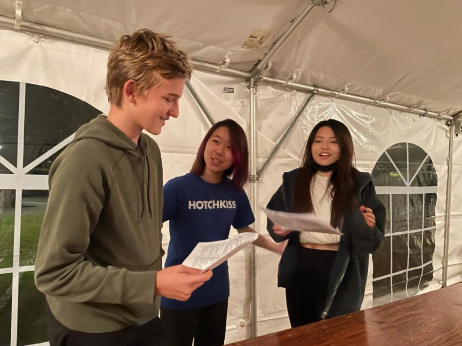 (From left to right) Matteo Hottenrott '25, Aurora Zhang '24, and Stella Ren '22 rehearsing for the October 13 Black Box performances.